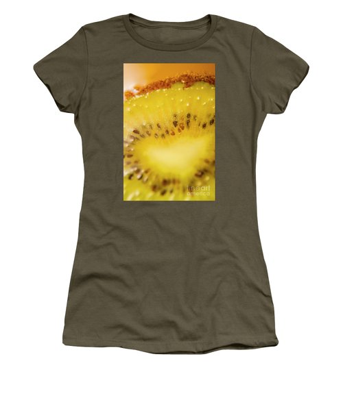 Sliced Kiwi Fruit Floating In Carbonated Beverage Women's T-Shirt (Junior Cut) by Jorgo Photography - Wall Art Gallery