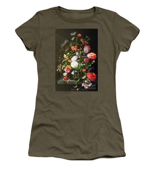 Still Life Of Flowers Women's T-Shirt (Junior Cut) by Jan Davidsz de Heem