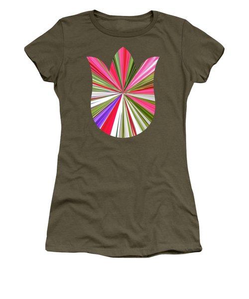 Striped Tulip Women's T-Shirt (Junior Cut) by Marian Bell