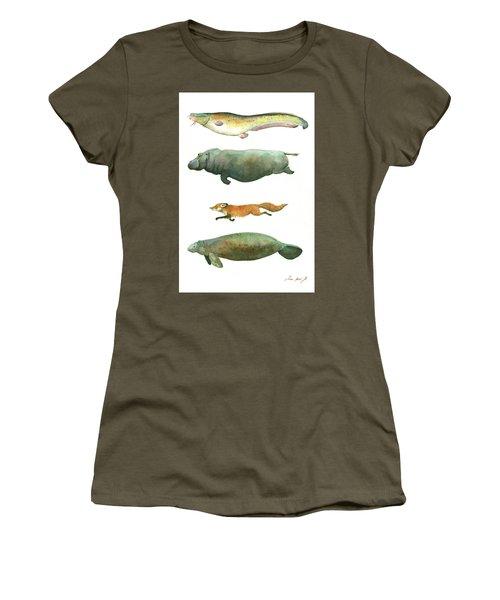 Swimming Animals Women's T-Shirt (Junior Cut) by Juan Bosco