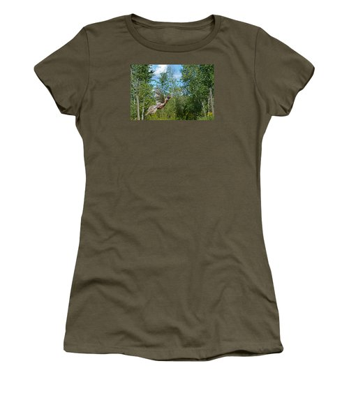 The Ring-necked Pheasant In Take-off Flight Women's T-Shirt (Junior Cut) by Asbed Iskedjian