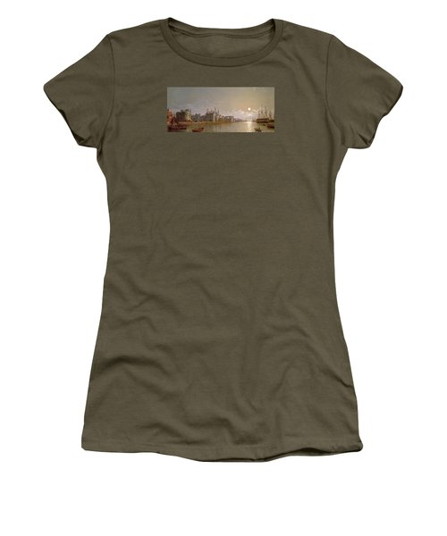 The Thames By Moonlight With Traitors' Gate And The Tower Of London Women's T-Shirt (Junior Cut) by Henry Pether