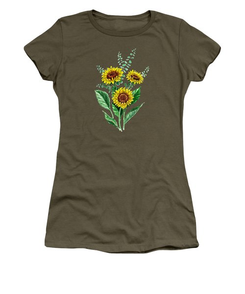 Three Playful Sunflowers Women's T-Shirt (Junior Cut) by Irina Sztukowski