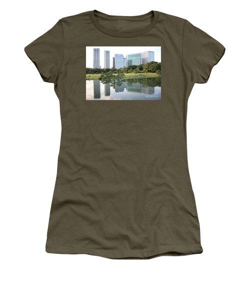Tokyo Skyline Reflection Women's T-Shirt (Junior Cut) by Carol Groenen