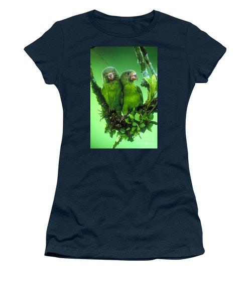Cobalt-winged Parakeets Women's T-Shirt (Junior Cut) by Art Wolfe