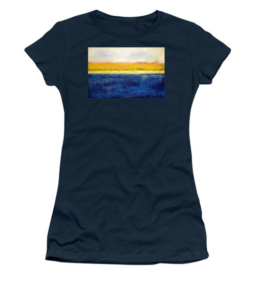 Abstract Dunes With Blue And Gold Women's T-Shirt (Junior Cut) by Michelle Calkins