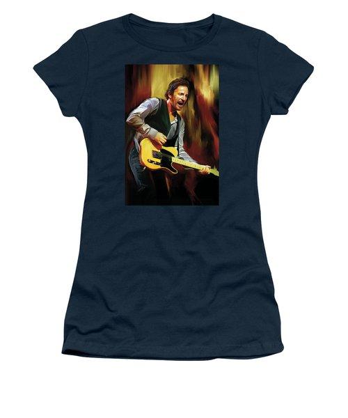 Bruce Springsteen Artwork Women's T-Shirt (Junior Cut) by Sheraz A