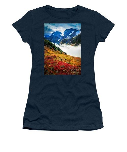 Cascade Pass Peaks Women's T-Shirt (Junior Cut) by Inge Johnsson