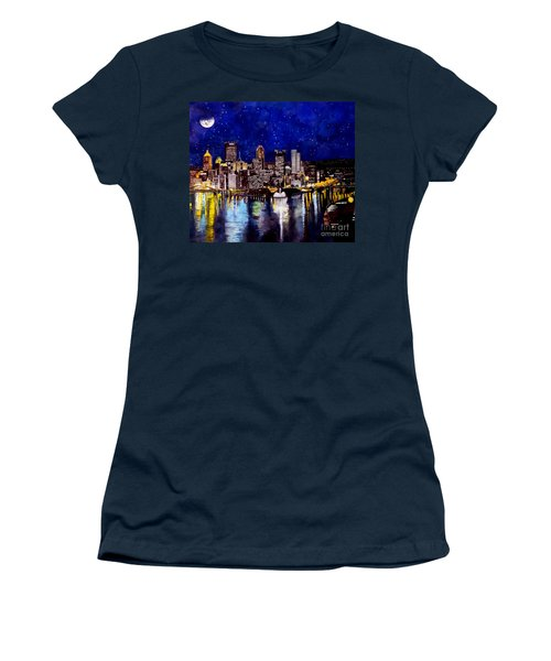City Of Pittsburgh At The Point Women's T-Shirt (Junior Cut) by Christopher Shellhammer