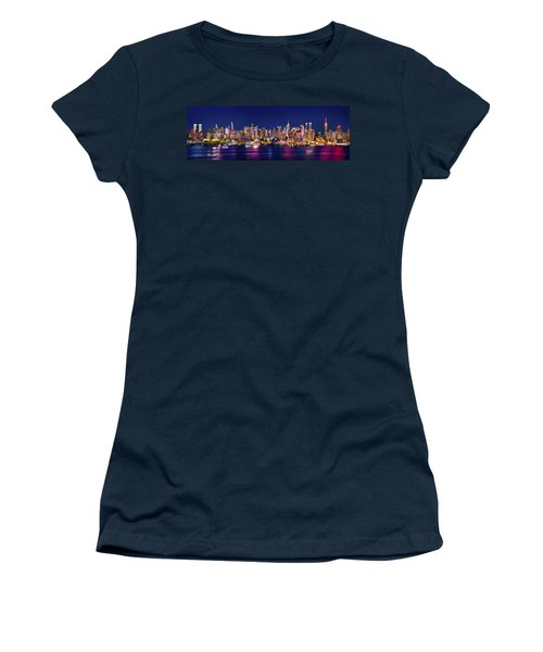 New York City Nyc Midtown Manhattan At Night Women's T-Shirt (Junior Cut) by Jon Holiday