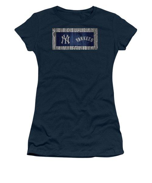 New York Yankees Barn Door Women's T-Shirt (Junior Cut) by Dan Sproul
