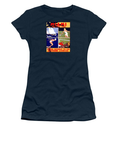1925 Miami Travel Poster Women's T-Shirt (Junior Cut) by Historic Image
