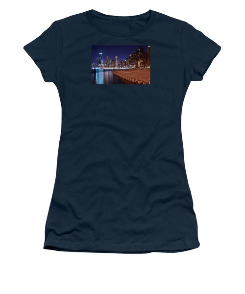 Chicago From The North Women's T-Shirt (Junior Cut) by Frozen in Time Fine Art Photography