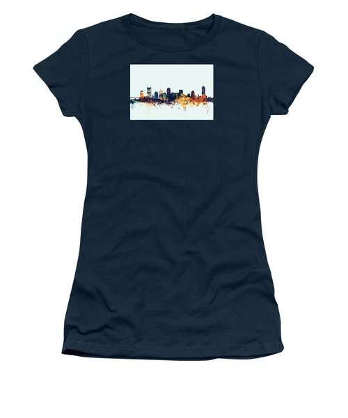Nashville Tennessee Skyline Women's T-Shirt (Junior Cut) by Michael Tompsett