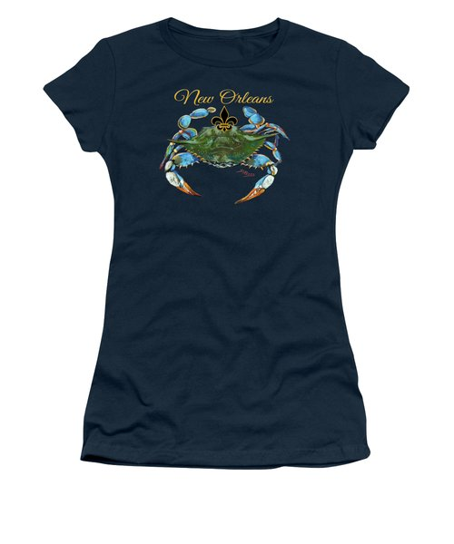 Louisiana Blue On Red Women's T-Shirt (Junior Cut) by Dianne Parks