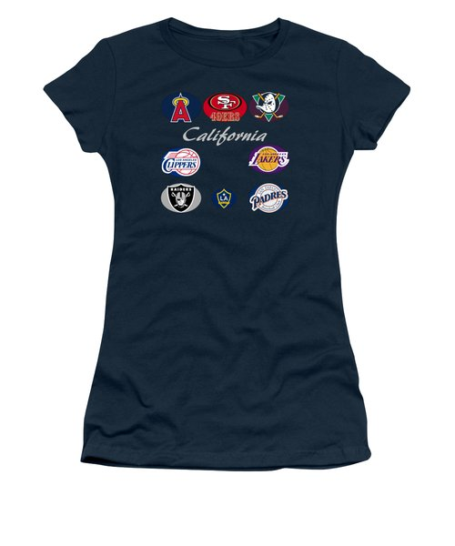 California Professional Sport Teams Collage  Women's T-Shirt (Junior Cut) by Movie Poster Prints