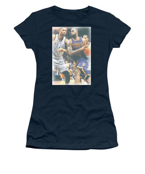 Cleveland Cavaliers Lebron James 4 Women's T-Shirt (Junior Cut) by Joe Hamilton