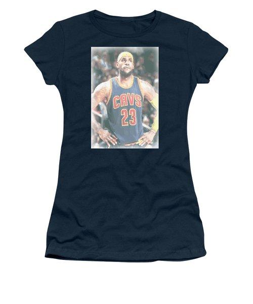 Cleveland Cavaliers Lebron James 5 Women's T-Shirt (Junior Cut) by Joe Hamilton