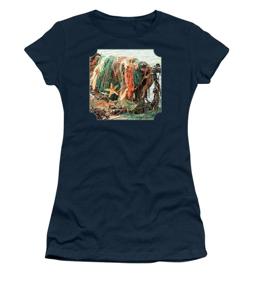 Colorful Catch - Starfish In Fishing Nets Square Women's T-Shirt (Junior Cut) by Gill Billington