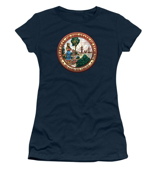 Florida State Seal Over Blue Velvet Women's T-Shirt (Junior Cut) by Serge Averbukh