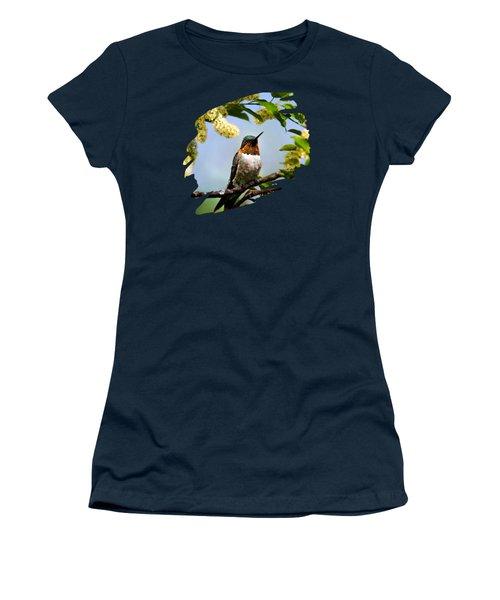 Hummingbird With Flowers Women's T-Shirt (Junior Cut) by Christina Rollo