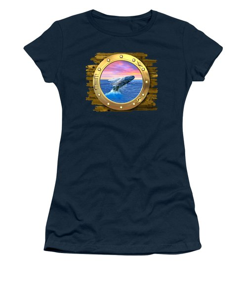 Humpback Whale Breaching At Sunset Women's T-Shirt (Junior Cut) by Glenn Holbrook