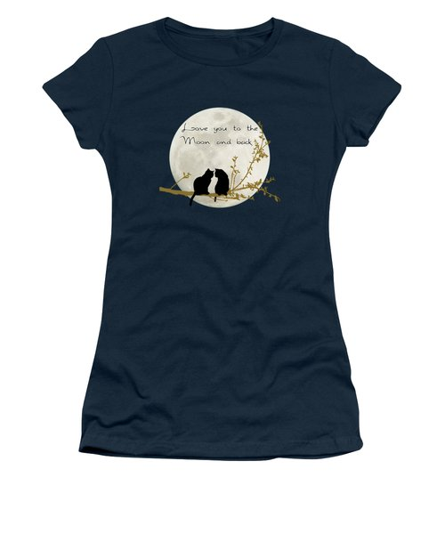 Love You To The Moon And Back Women's T-Shirt (Junior Cut) by Linda Lees