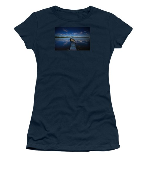 Midnight At Shady Shore On Moose Lake Minnesota Women's T-Shirt (Junior Cut) by Alex Blondeau
