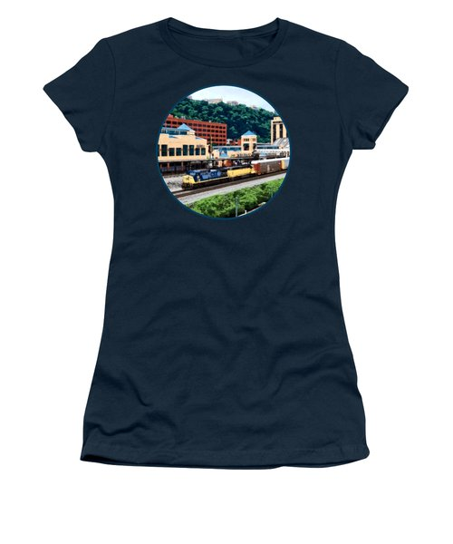 Pittsburgh Pa - Freight Train Going By Station Square Women's T-Shirt (Junior Cut) by Susan Savad