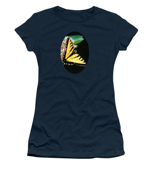 Swallowtail Butterfly And Milkweed Flowers Women's T-Shirt (Junior Cut) by Christina Rollo