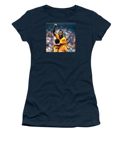 The Black Pearl Pele  Women's T-Shirt (Junior Cut) by Paul Meijering