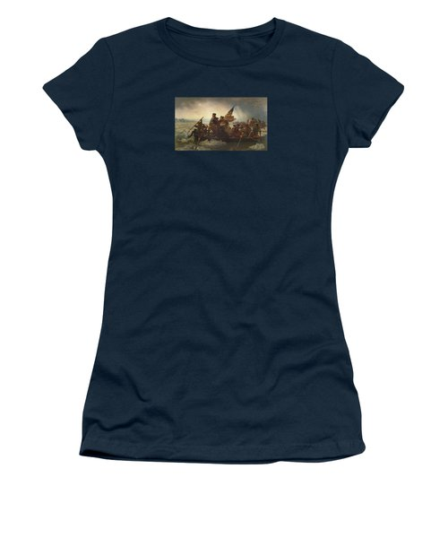 Washington Crossing The Delaware Painting  Women's T-Shirt (Junior Cut) by Emanuel Gottlieb Leutze
