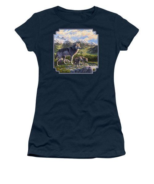 Wolf Painting - Passing It On Women's T-Shirt (Junior Cut) by Crista Forest