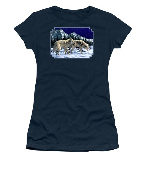 Wolves - Unfamiliar Territory Women's T-Shirt (Junior Cut) by Crista Forest