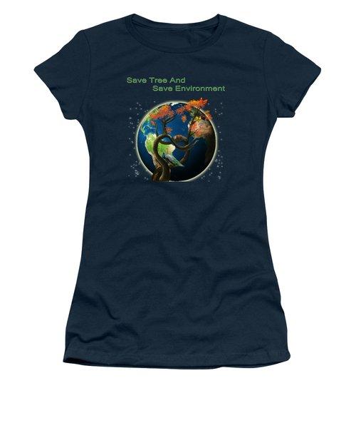 World Needs Tree Women's T-Shirt (Junior Cut) by Artist Nandika  Dutt