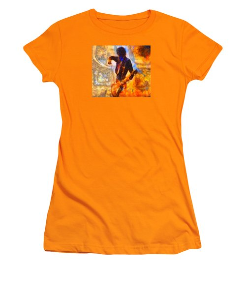 Jimmy Page Playing Guitar With Bow Women's T-Shirt (Junior Cut) by Dan Sproul