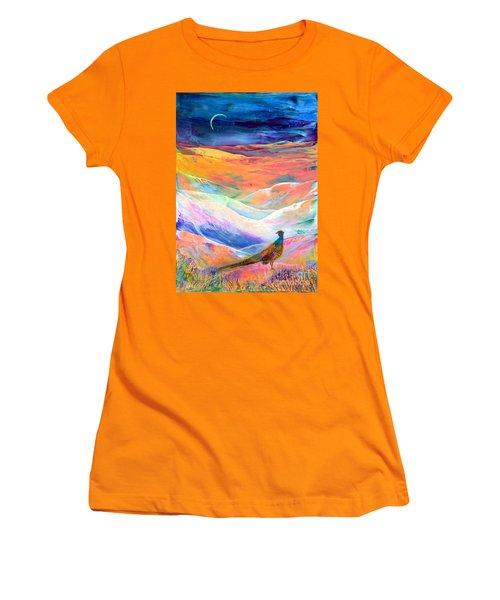 Pheasant Moon Women's T-Shirt (Junior Cut) by Jane Small