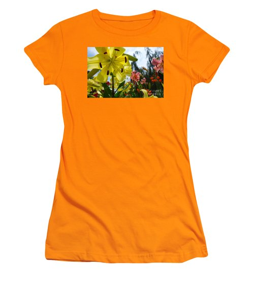 Yellow Whopper Lily 1 Women's T-Shirt (Junior Cut) by Jacqueline Athmann