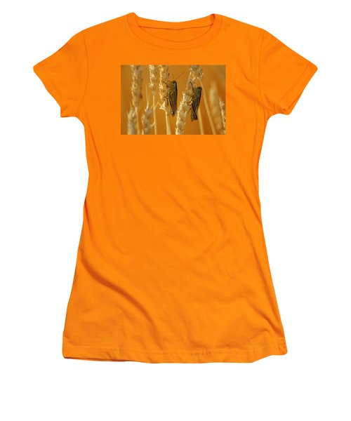 Grasshoppers On Wheat, Treherne Women's T-Shirt (Junior Cut) by Mike Grandmailson