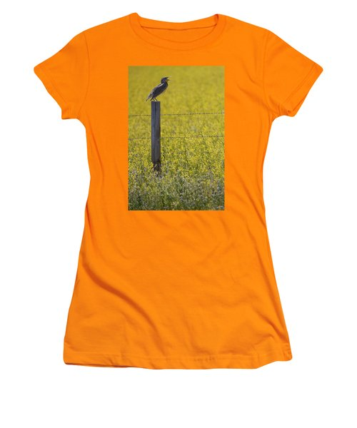 Meadowlark Singing Women's T-Shirt (Junior Cut) by Randall Nyhof
