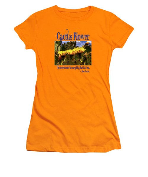 Prickly Pear Cactus Flowers Women's T-Shirt (Junior Cut) by Roger Passman