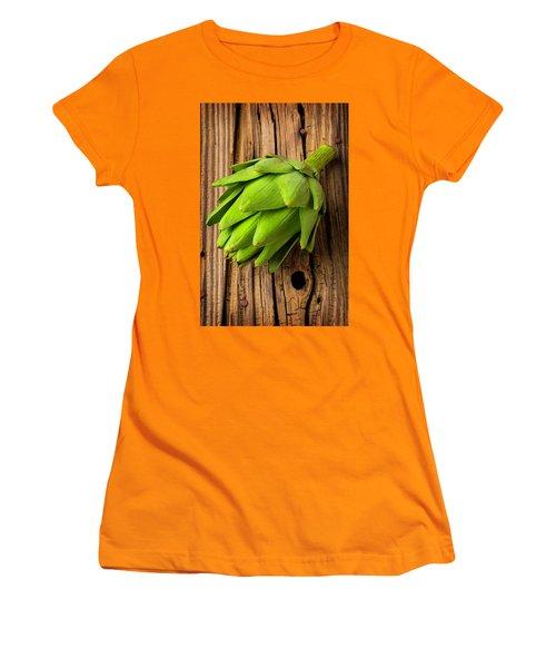 Artichoke On Old Wooden Board Women's T-Shirt (Junior Cut) by Garry Gay