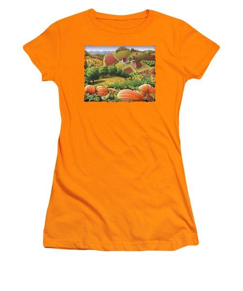 Farm Landscape - Autumn Rural Country Pumpkins Folk Art - Appalachian Americana - Fall Pumpkin Patch Women's T-Shirt (Junior Cut) by Walt Curlee