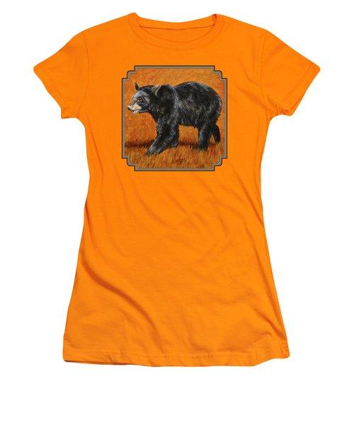 Autumn Black Bear Women's T-Shirt (Junior Cut) by Crista Forest