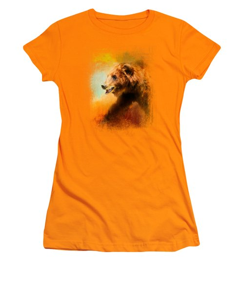 Colorful Expressions Grizzly Bear Women's T-Shirt (Junior Cut) by Jai Johnson