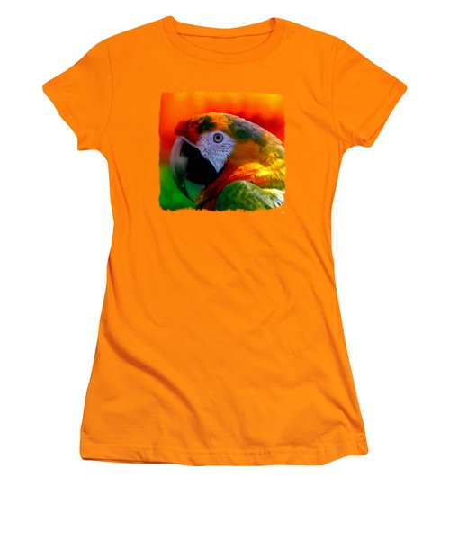 Colorful Macaw Parrot Women's T-Shirt (Junior Cut) by Linda Koelbel