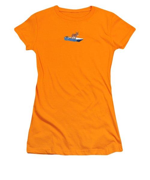 Donkey Daybreak Women's T-Shirt (Junior Cut) by Priscilla Wolfe