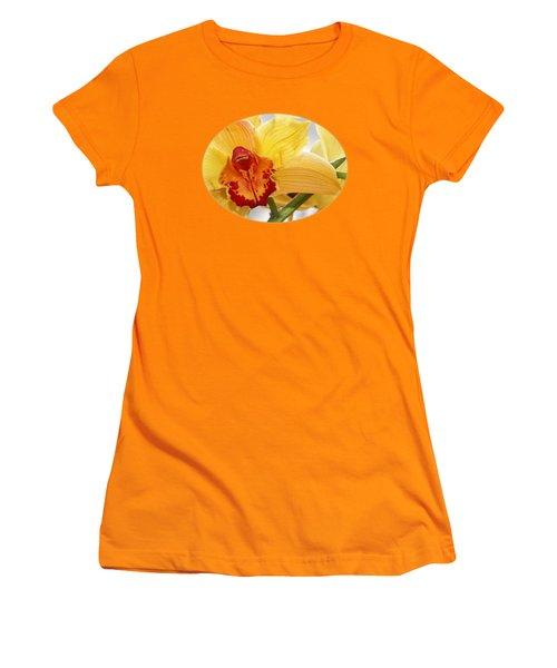 Golden Cymbidium Orchid Women's T-Shirt (Junior Cut) by Gill Billington