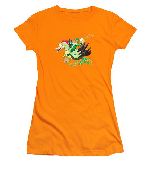 Lucky Leprechaun Women's T-Shirt (Junior Cut) by David Brodie