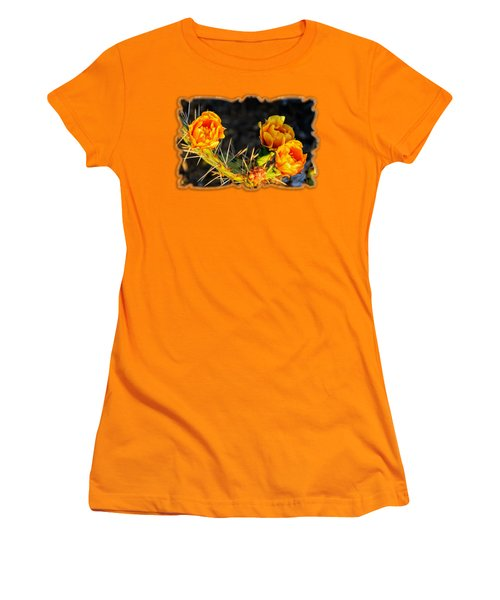 Prickly Pear Flowers Op49 Women's T-Shirt (Junior Cut) by Mark Myhaver